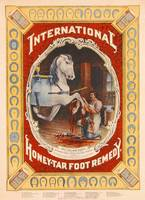 Poster advertising Honey-Tar foot remedy for horse