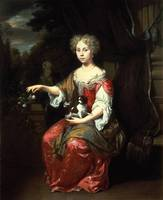 Portrait of a Lady holding her pet King Charles Sp