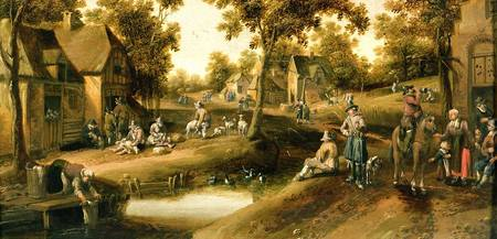 A Village Scene with Peasants on Banks of a Stream