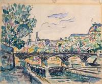 Bank of the Seine near the Pont des Arts, with a v