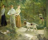 View of the artist's garden with his daughters, 1