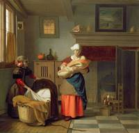 Nursemaid with baby in an interior and a young gir