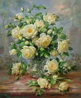 Princess Diana Roses in a Cut Glass Vase