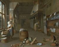 Kitchen interior with two maids preparing food