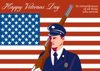American Veterans Day Greeting Card Retro