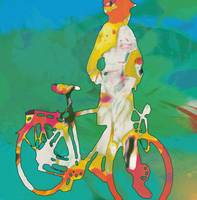 Girl with bike pop stylised paper cut art poster