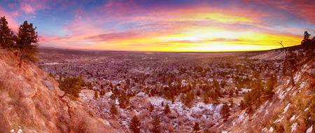 Boulder Colorado Sunrise Wide Panorama View
