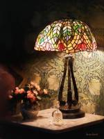 Stained Glass Lamp and Vase of Flowers