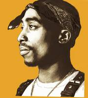 2pac Tupac Shakur - stylised drawing art poster