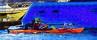 A Man His Kayak and His Dogs by Kirt Tisdale