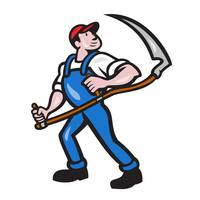 Farmer Worker Holding Scythe Cartoon