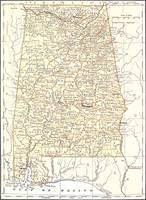 Vintage Map of Alabama (1878)