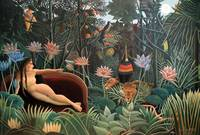 Henri Rousseau The Dream Jungle Flowers Surrealism
