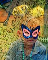 Boy In Mask Abstract by Robin Amaral