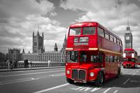 London – Houses of Parliament and Red Buses