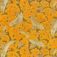Vintage Art Deco Fish and Yellow Coral Design
