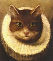Cat In A Ruff Cute Victorian Art Vintage Painting