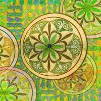 Green and Yellow Mosaic Circles and Flowers
