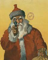 Vintage Santa Claus with a Gun