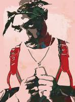 2pac Tupac Shakur - stylised pop art poster