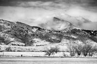 Meeker and Longs Peak in Winter Clouds BW