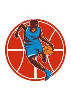 Basketball Player Dribble Ball Front Retro