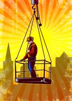 Construction Worker Platform Retro Poster