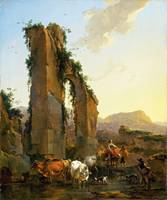 Nicolaes Berchem - Peasants by a Ruined Aqueduct