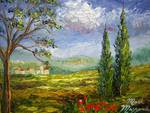 Tuscany Hill Villages by Mazz Original Paintings