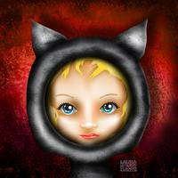 Whimsical Cat Girl Red