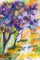Jacaranda Tree Watercolor by Ginette