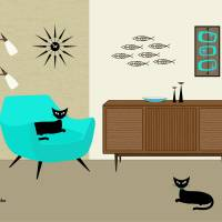 Fish Wall Art with Aqua Chair Art Prints & Posters by Donna Mibus