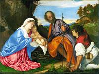 Titian - The Holy Family with a Shepherd