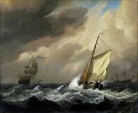 Willem van de Velde - A Small Dutch Vessel close-h