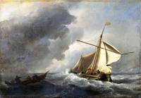 Willem van de Velde - A Dutch Vessel in a Strong B