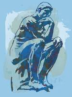 The Thinker - Rodin Stylized Pop Art Poster