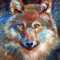 1818 WOLF ABSTRACT by Marcia Baldwin