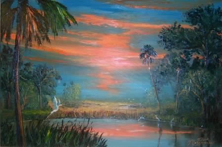 Summer Sunset Heron