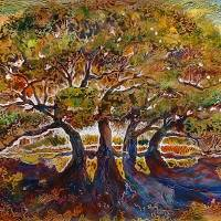 TREES of LIFE BATIK on CANVAS by Marcia Baldwin