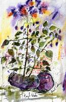Purple Potatoes and Blossoms Watercolor