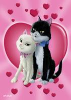 Romantic Cartoon cats on Valentine Heart