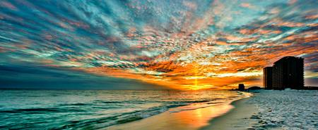 panoramic sunset red ray blue sky art print