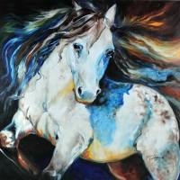 """MOONLIGHT APPALOOSA"" by MBaldwinFineArt2006"
