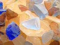 Orange Blue Seaglass Beach design Coastal art prin