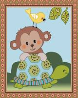 Curly Tails Monkey Art - Turtle, Monkey and Bird
