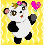 Cute Panda with a Heart Balloon Prints & Posters