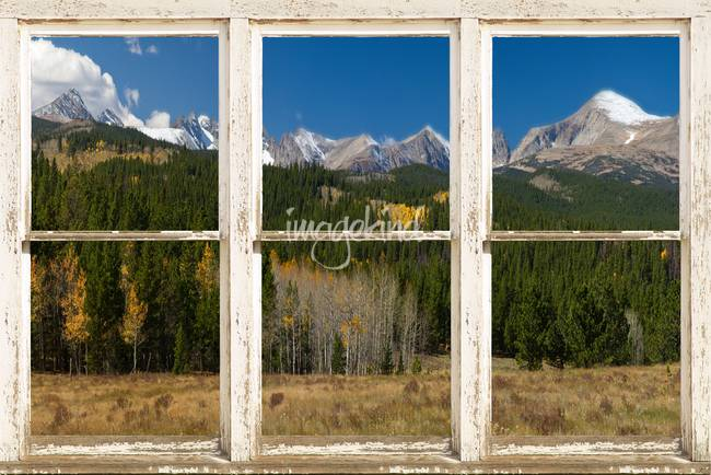 Rocky Mountain Continental Divide Rustic Window Vi By