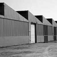 Factory Buildings in Black and White by Karen Adams