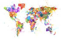 Paint Splashes Text Map of the World