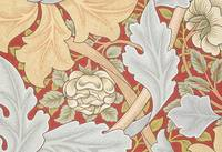 Acanthus Leaves, Wild Rose on Crimson Background